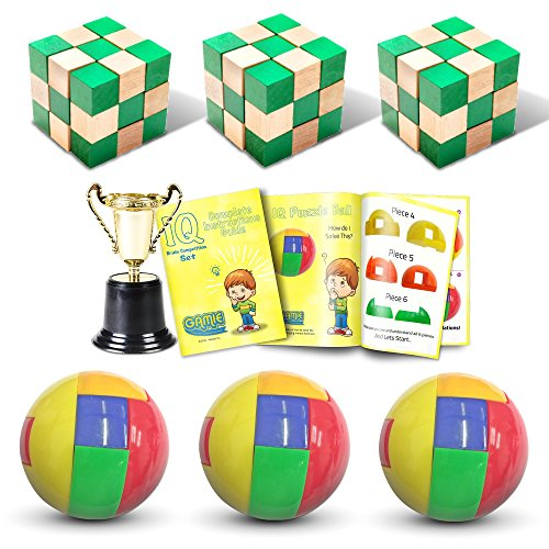 - Brain Competition Set by Gamie, Includes 3 Wooden Cube Puzzles, 3 IQ Ball Puzzles, Cool Trophy, and Instructions Booklet | 3D Brain Teaser Puzzle Game for Teens and Adults | Great Gift Idea