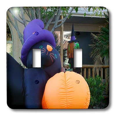 3dRose lsp_52592_2 A Yard Decorated For Halloween with A Black Cat and Witch Blow Up Double Toggle Switch