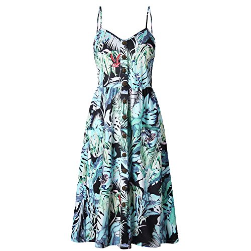 Nuofengkudu Womens Summer Cute Floral Printed Bohemian Spaghetti Strap Button Down Swing Midi Dress with Pockets Button Down Sleeveless Jersey