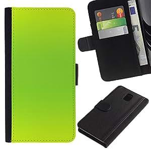 Billetera de Cuero Caso del tirón Titular de la tarjeta Carcasa Funda del zurriago para Samsung Galaxy Note 3 III N9000 N9002 N9005 / Business Style Vibrant Neon Green Color Bright