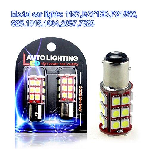 1157 BAY15D P21/5W S25 1016 1034 2357 7528 Super Bright White 100lighting 12V Canbus No Error 30 SMD 5050 LED Light Bulbs For Car Backup Turning Braking Reversing Parking Tail Light(pack of 2)