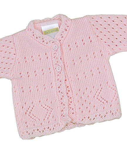 - BabyPrem Preemie Baby Cardigan Jacket Lacy Knitted 3-8lb Pink PREM 2