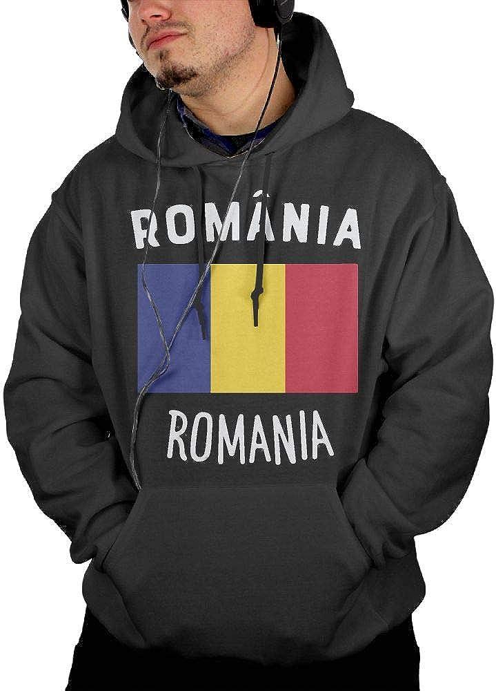Romania Flag Sportswear with Kanga Pocket KEQ/&JSW Mens Slim Fit Fleece Hoodies