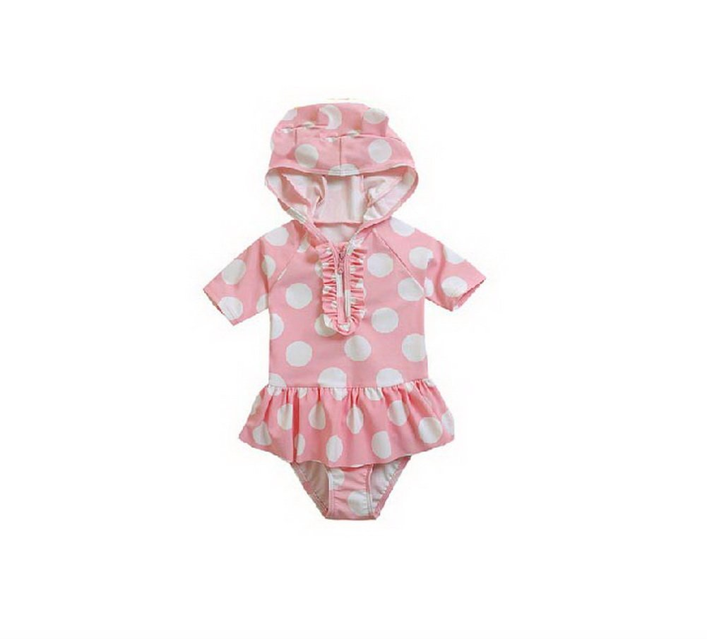 Cute Girl Swimwear Dotted One Piece with Hoodie, Pink& White, 5T, 3-4 Years Old PANDA SUPERSTORE PS-SPO2420249011-EMILY00842