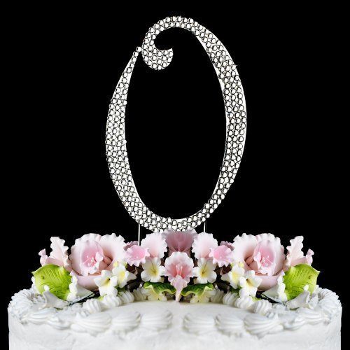 Completely Covered Swarovski Crystal Silver Wedding Cake Toppers ~ LARGE Monogram Letter O by RaeBella Weddings & Events New York