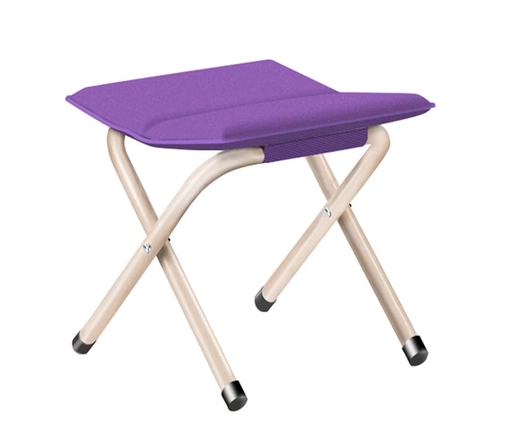 YANGYA Portable Folding Stool Chairs Outdoor Foldable Small Lightweight Steel Pipe Stools Seat for Camping Fishing Picnic BBQ Travel Hiking Garden Beach-Purple-M by YANGYA