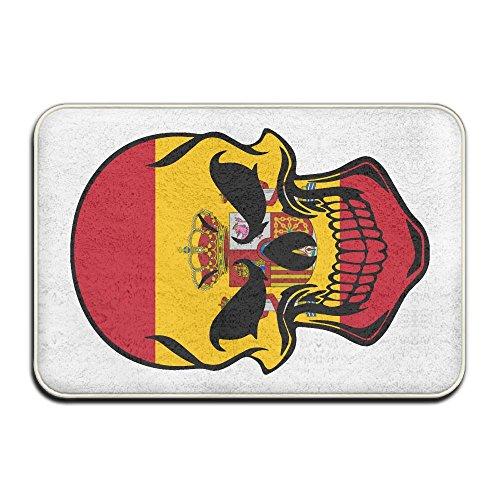 Spain Flag Skull-1 Skid Resistance Front Doormat Kitchen Mat by Mat_Rug&
