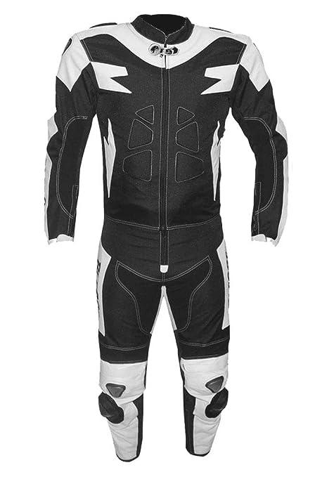 BIESSE - Traje de moto para adulto de piel y tela, divisible en 2 piezas, chaqueta y pantalón, ajustable, con protecciones CE (XS, blanco/negro
