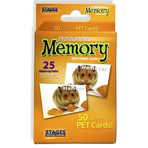 Stages Learning Materials Picture Memory Pets Card Game Real Photo Concentration Game for Home, Family, Preschool, Kindergarten & Elementary Education