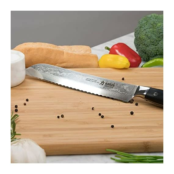 HANZO Serrated Bread Knife Professional - 9 inch Katana Series - 67 ply Japanese VG10 steel - G10 Military Grade Custom Contoured Handle - Outstanding handling and edge retention 9 PERFORMANCE -Perfect performance, durability and comfort for professional chefs, cooks and culinary enthusiasts. Ancient craftmanship combines with modern technology and results in a knife with perfect balance and feel, stunning looks and most importantly outstanding performance in any kitchen DURABILITY AND STRENGTH - Hanzo serrated knives come to you ready to use Built from ultra sharp VG-10 Japanese steel layered 67 times with a triple riveted full length tang your new knife has exceptional strength durability and resilience no matter if you use it in a commercial kitchen or just everyday use at home UNPARALLELED PERFORMANCE comes from attention to detail. Perfectly balanced with just the right heft the scalpel like blade makes food prep easy, smoothly slicing through breads cakes vegetables fruit and meats. Perfect for professional chefs to home cooks it will add a touch of class to your kitchen