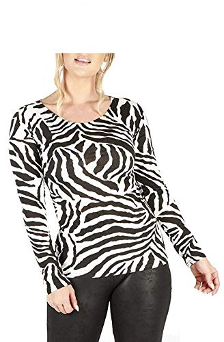 (Loxdonz Women's Printed Long Sleeve Top Ladies Stretchy Basic Casual T Shirt Tops (XL - US 12/14, Zebra Print))