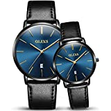 OLEVS 2pcs Couple Quartz Automatic Waterproof UltraThin Genuine Leather Band Wristwatches Set for His and Her, Valentines Gift (style 2)