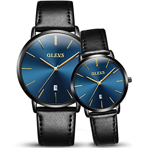 OLEVS 2pcs Couple Quartz Automatic Waterproof UltraThin GenuineLeather Band Wristwatches Set for His and Her, Valentines Gift (style 2) by OLEVS