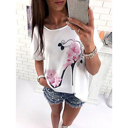 Beach Manica Sale Bianca Stampato T Da Cerniera Maglietta Shirt Corta Camicetta Moda Donna Donna Hot Tops Abbigliamento Estate Oyedens Casual Blouse Shirt TqCwxp6