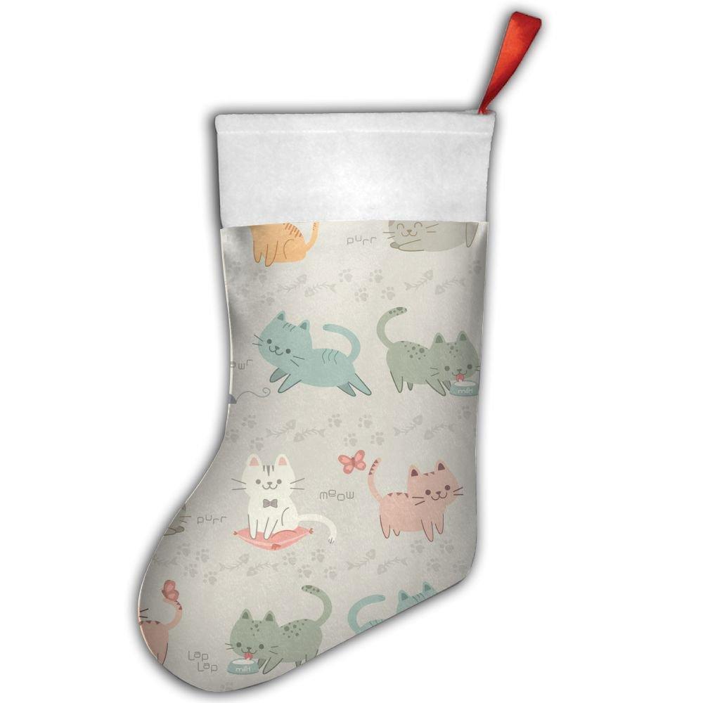 Playful Kitty Hipster Pet Cat Christmas Stocking Red Xmas Socks