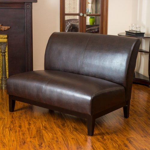Massimo Modern Upholstered Brown Bonded Leather Loveseat