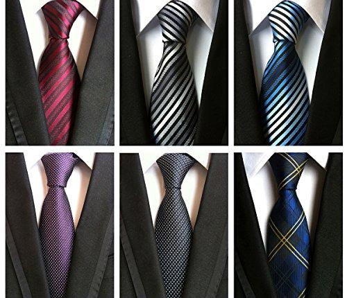 Fashion Neck Tie Set - XTAPAN Men's 6 PCS Classic Neckties Woven Jacquard Polyester Silk Fashion Neck Ties Set 57.1