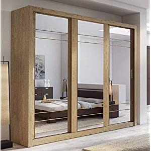 Brand New Modern Bedroom Mirror Sliding Door Wardrobe ARTI 2 in Oak Shetland 250cm sold by Arthauss