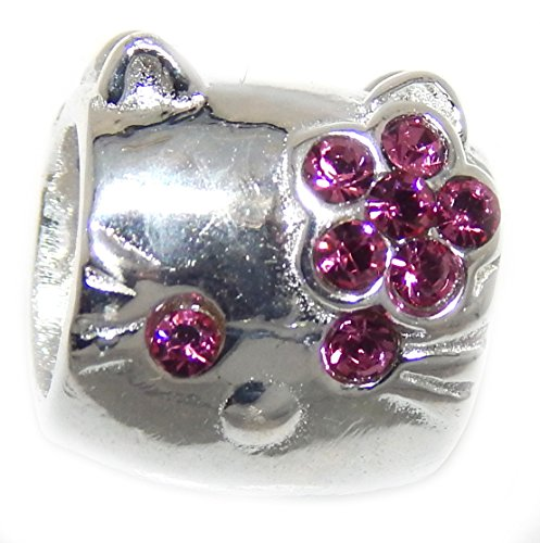 - ICYROSE Solid 925 Sterling Silver Cartoon Kitty Face with Crystals Charm Bead (Hot Pink)