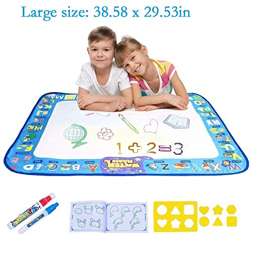 DeeBuu Doodle Mat Aqua Magic Mat, Water Drawing Mat for Kids/Toddlers Painting Coloring with 2 Magic Pens Toddlers Draw Templates Boys Girls Educational Gift Size 38.58