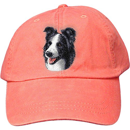 Cherrybrook Dog Breed Embroidered Adams Cotton Twill Caps - Coral - Border Collie