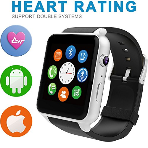 Evershop® Newest SIM Card NFC Bluetooth Connectivity Sports Smart Watch with Heart Rate Monitor and Wristwatch Phone Mate Independent Smartphone for Android and IOS (Silver)