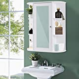 TANGKULA Bathroom Cabinet Single Door Wall Mount Mirror Organizer Storage Cabinet(2 Tier Inner Shelves)