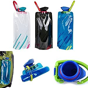Generic Water Bottle Flexible Collapsible Foldable Reusable Outdoor 700ml Water Bottles 3 Pack