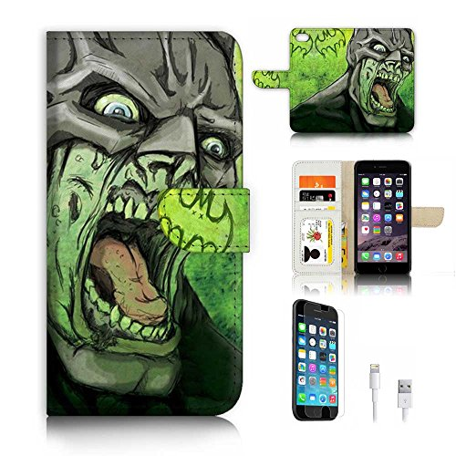 - ( For iPhone 6 Plus / iPhone 6S Plus ) Flip WalletCase Cover & Screen Protector & Charging Cable Bundle! A6797 Zombie Batman