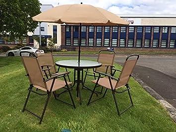 6 piezas muebles de jardín de patio jardín de invierno al aire libre sillas mesa pantalla