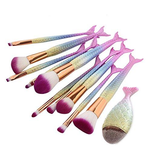 Cinidy Makeup Brushes Set 11pcs 3D Mermaid Kabuki Cosmetic Brushes Professional Fishtail Bottom Blush Brush Foundation Blending Eyeliner Face Powder Brush (Mermaid Makeup Tutorial)
