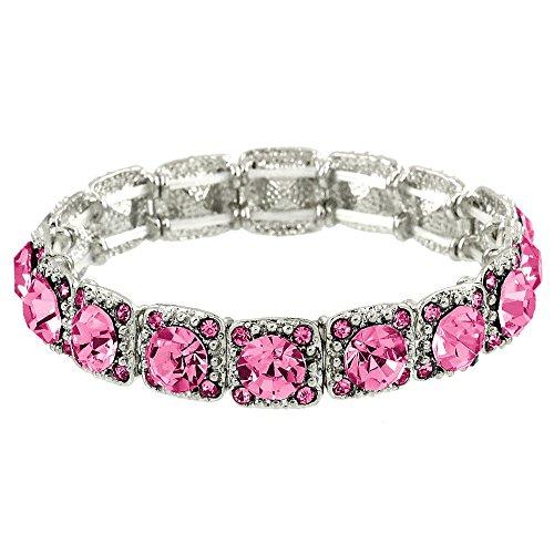 Falari Crystal Stretch Bracelet Wedding Bracelet (Rose Pink) B1534-ROSE