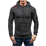 Sweatshirt For Men,Clearance Sale-Farjing Men's Autumn Winter Printed Long Sleeve Hooded Blouse Tops (2XL,Dark Gray)