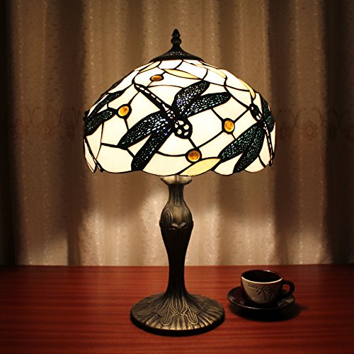 12-Inch Vintage Pastoral Dragonfly Stained Glass Tiffany Table Lamp Bedroom Lamp Bedside Lamp