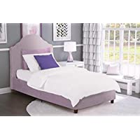 DHP Savannah Upholstered Bed with Artful Curves Headboard, Twin Size, Lilac