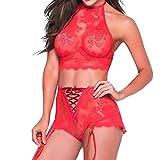 Sexy Sleepwear - vmree Ladies Vest Crop Bra Lingerie Uniform temptation Set Plus Size (Free Size - Red)