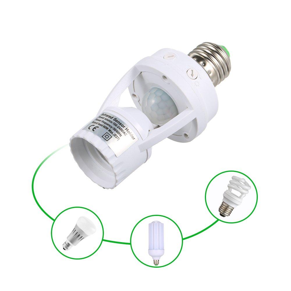 Lixada Sensitive PIRモーションセンサーe27 LED電球ベースソケットInfrafed自動ライトランプホルダースイッチwalk-inのクローゼット洗濯部屋ガレージバスルーム通路階段 B07B9SQ5MX 14158