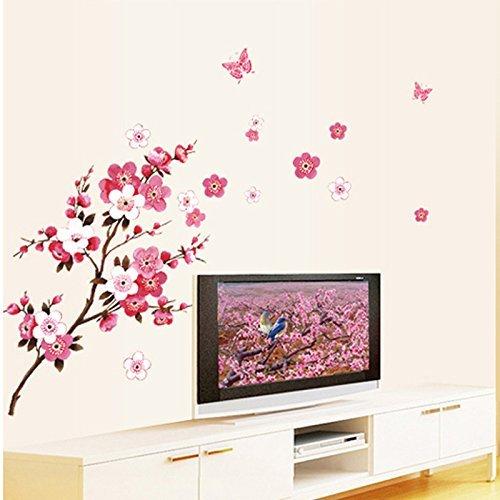 RRRLJL DIY Removable Vinyl Cherry Blooms Tree Branch Wall Decor Decal Japanese Sakura Wall Art Stickers 6108140