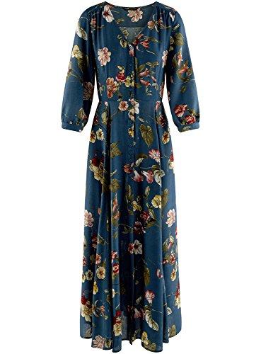 Boutonne oodji Femme Bleu Ultra 7468f Longue Robe nTZWOpgq