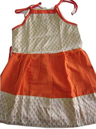 Kween Bee Orange and Cream Brocade Silk Frock - Size 16 (1yrs to 2yrs)