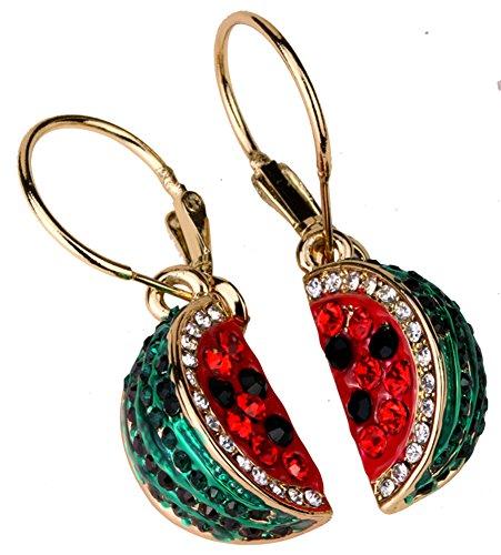 YACQ Watermelon Dangle Earrings Cute Crystal Jewelry for Women Red