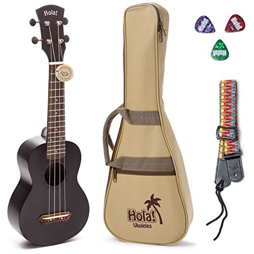 Hola! Music HM-121BK+ Deluxe Mahogany Soprano Ukulele Bundle with Aquila Strings, Padded Gig Bag, Strap and Picks - Black