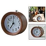 OFKP Silent Alarm Clock Small Wooden Circular Desk Alarm Clock With Night Light Simple To Set Clocks Battery Powered