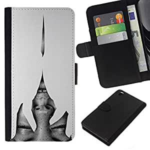 For HTC DESIRE 816 Case , Heartbreak Grey Woman Eyes - la tarjeta de Crédito Slots PU Funda de cuero Monedero caso cubierta de piel