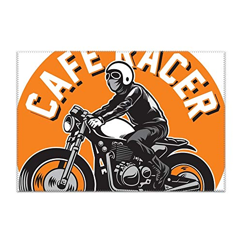Hodmadod Stain Resistant Washable PVC Cafe Racer Motorcycle Badge Table Mats,Kitchen Placemat,Sets 4