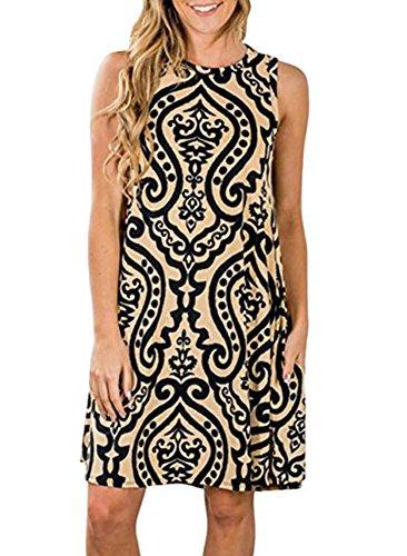 Amborido Womens Summer Sleeveless Damask Floral Print Pocket Loose T-shirt Dress (X-Large Khaki)