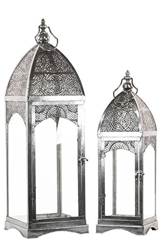 Urban Trends Metal Lantern with Ring Hanger Glass Sides and Square Base Pierced Electroplated (Set of 2), 7.5 by 7.5 by 27'', Silver by Urban Trends