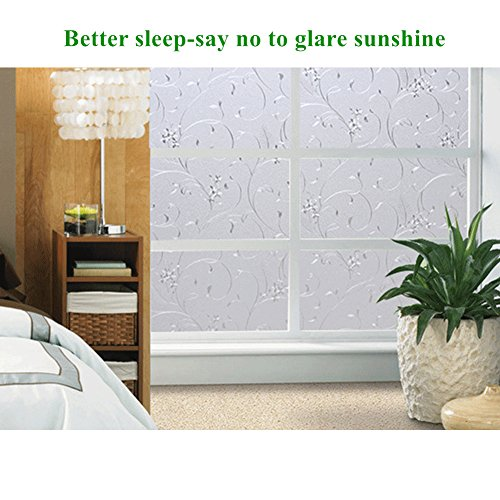 Mikomer Privacy Window Film Wheat Static Cling Glass Door Film, Non Adhesive Window Cling/Removable/Heat Control/Anti UV for Office and Home Decoration,17.5In. by 78.7In. by Mikomer (Image #2)
