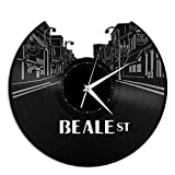 VinylShopUS - Beale Street Vinyl Wall Clock Music Record Unique Gift Ideas Room Gift for Anniversary | Home Decoration