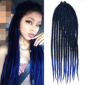 Black To Royal Blue Two Colors Ombre Crochet Braid Hair Extensions Braids Havana Mambo